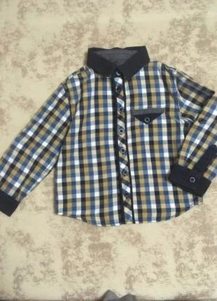 Хлопковая рубашка в клетку на 1.5-2 года 92 см