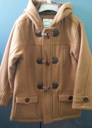 Детское брендовое утепленное шерстяное пальто 7-8 лет