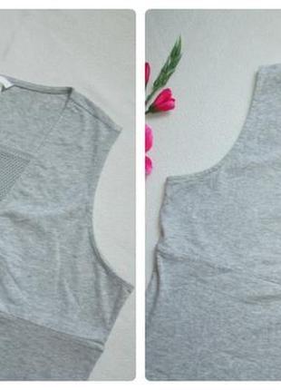 Стрейчевая майка боди комбидресс серый меланж вставка сетка  большого размера h&m2 фото