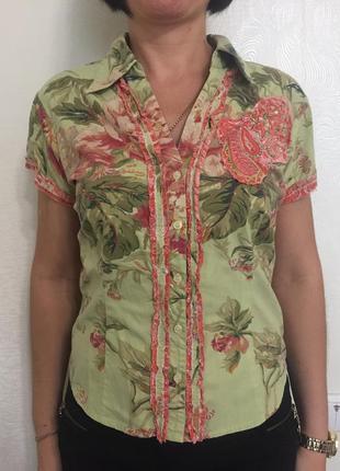 Хлопковая рубашка с коротким рукавом салатовая разноцветная цветная розовая хб в пионы