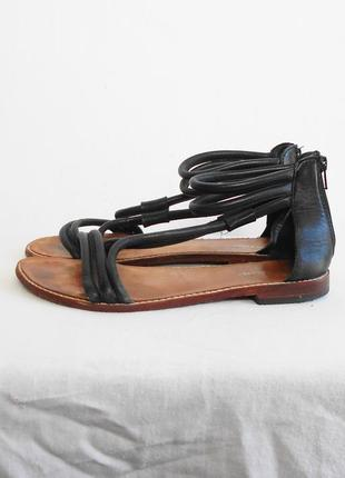 Черные кожаные босоножки сандалии bon'a parte