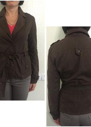 Шоколадный пиджак жакет коричневый под пояс осенний плащ на осень весну весенний