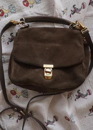 Замшевая сумка серо-коричневого цвета