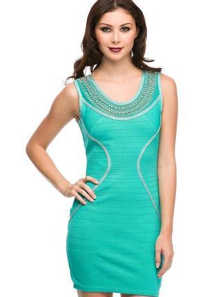 Вечернее платье wow couture бандажное бисер стразы размеры s, m, l