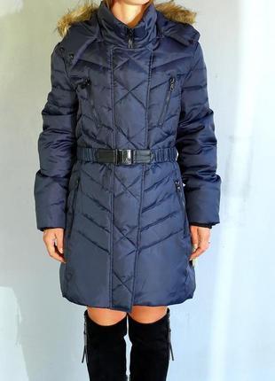 Пуховик женский фирменный sam edelman синий оригинал очень теплый зимний на пуху стильный