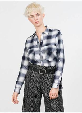Фланелевая рубашка клетчатая блузка в клетку от zara