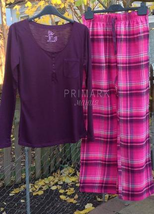 Женская пижама трикотаж + фланель s, м . primark