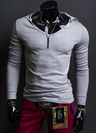 Мужская кофта ,футболка с капюшоном и длинным рукавом , очень стильная. .с,м,л.