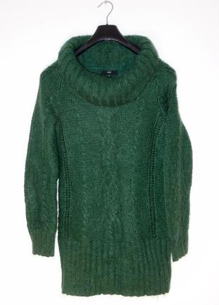 Тёплый пушистый зеленый свитер