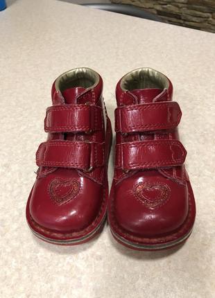 Кожаные демисезонные лаковые ботинки на девочку