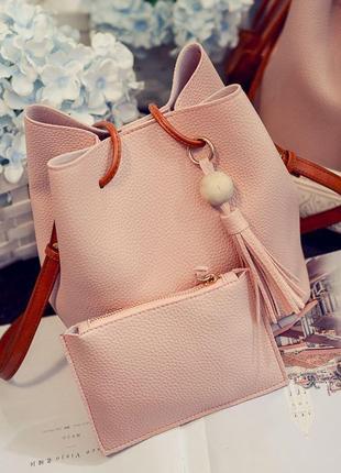 Новая пудровая сумка с кошельком