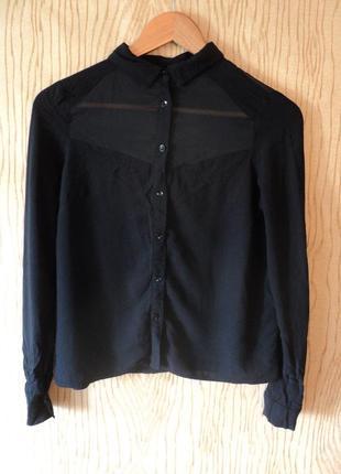 Рубашка черная воротником со вставкой блуза блузка пуговицах короткая минимализм
