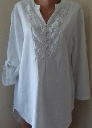 Новая льняная блуза -туника с кружевом большого размера