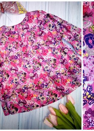 Яркая цветастая блузка- рубашка, туника, h&m, 92- 98