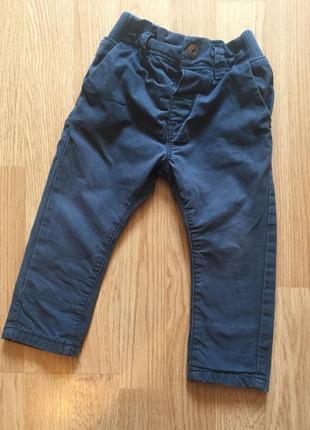 Фирменные штаны, брюки с подкладкой для мальчика next, размер 9-12 м, 74-80