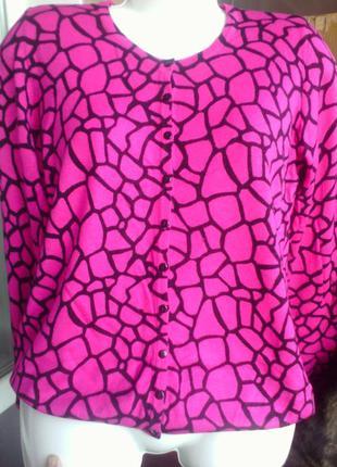 Яркая кофточка цвета фуксии, под леопард, бренда tu, размер 50-52, можно и больше