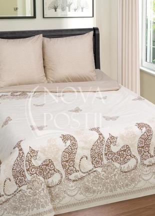 Мэри, постельное белье с оригинальными ажурными кошками (поплин, 100% хлопок)