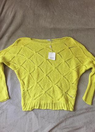Крупной вязки свитер с дырками mango летучая мышь zara кофта