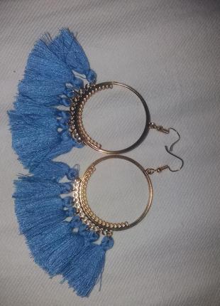 Серьги кольца с бахрамой