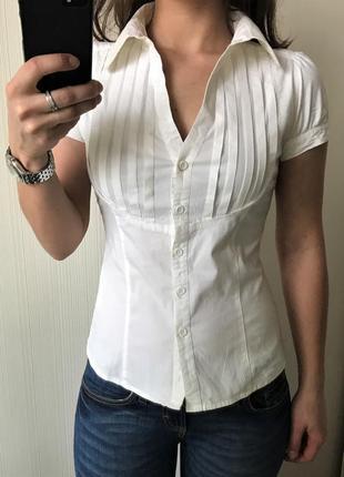 Рубашка блузка белая без рукавов zara