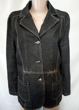 Темно-серый джинсовый жакет, пиджак