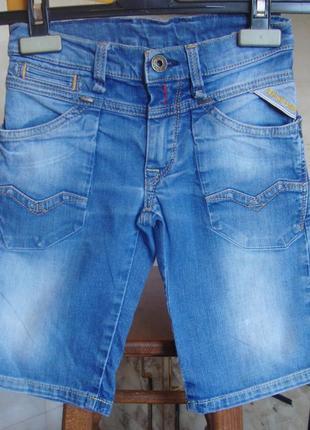Шорты джинсовые голубые replay & sons 118 см 98%котон, 2%эластан