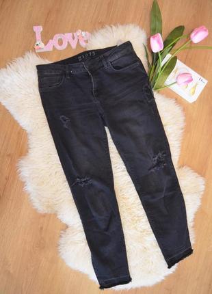 Черные стильные рваные  джинсы скины zara