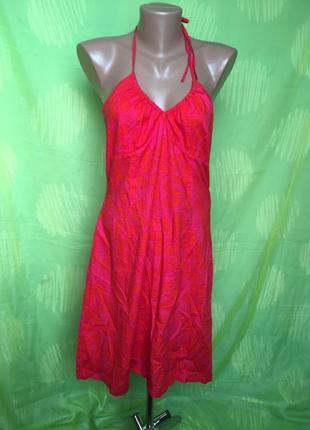Красное легкое ситцевое платье на шлейках 10\38