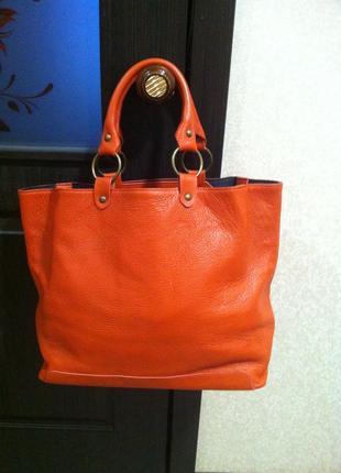 Ярка большая сумка-шоппер терракотового цвета* оранжевый* с короткими ручками