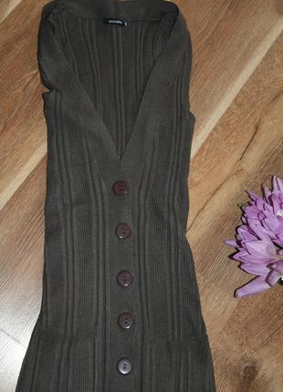 Кардиган кофта удлиненная на пуговицах с карманами