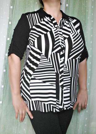 Трикотажная блуза в черно-белых тонах, 96% вискозы
