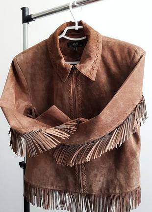 Крутая винтажная кожаная (замш) куртка с бахромой в ковбойском стиле