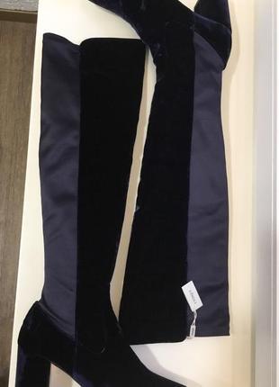 Стильные велюровые, бархатные ботфорты uterque p.39,5-40