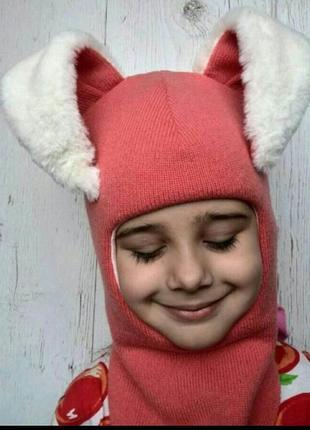 "Яркий шлем-шапка ""заяц"" на зиму для девочек"