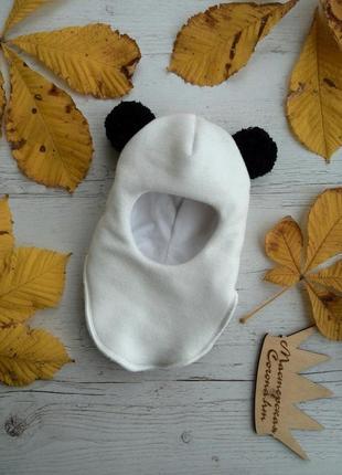 """Супер модная шапка-шлем """"панда"""" на зиму для девочки"""