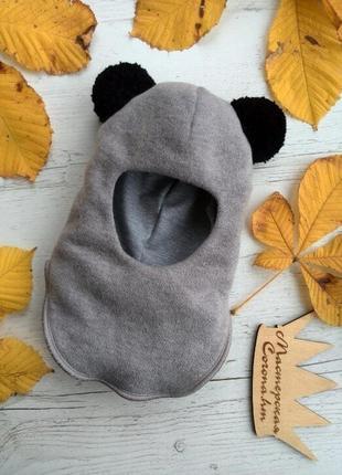 """Классная шапка-шлем """"панда"""" на зиму для девочки"""