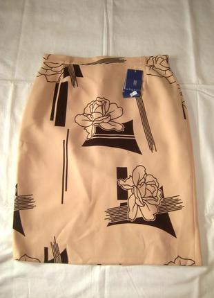 Пудровая юбка цветочный принт