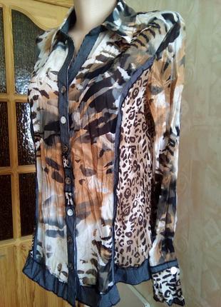 Блуза рубашка в стиле сафари с принтом леопарда от canda c&a