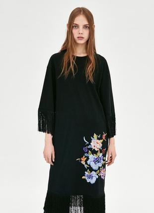 Платье с бахромой и вышивкой zara