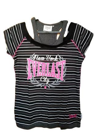 Everlast футболка майка в полоску свободная с открытыми/спущенными плечами
