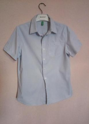 Рубашка школьная benetton на 7-9 лет короткий рукав состояние новой