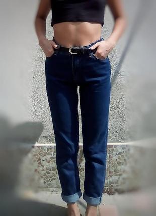 Mom джинсы или джинсы оверсайз, темно синего цвета