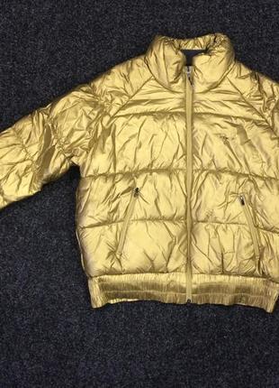 Куртка пуховик золотого цвета с дефектом