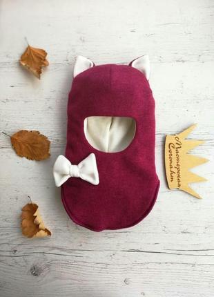 """Яркая модная шапка-шлем """"кошка"""" для девочек на зиму"""