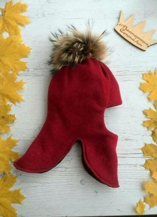 Яркая шапка-шлем зимняя для девочек