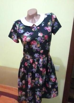 Платье цветочный принт 46р
