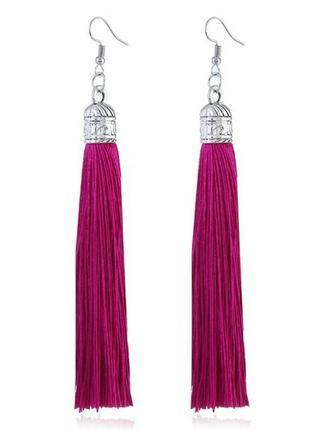 Красивые серьги серёжки кисти кисточки нити модные бохо длина кисти 9 см