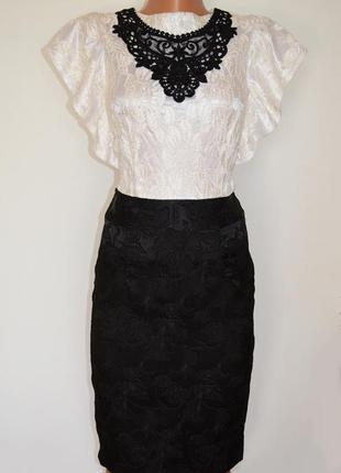 Комбинированное кружевное платье gepur