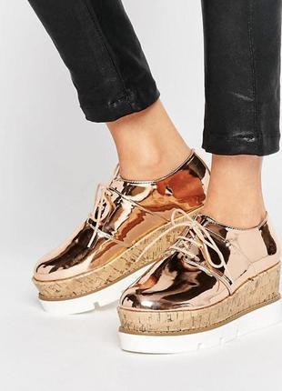 Дерби на платформе asos ,туфли,слипоны. оксфорды,лоферы