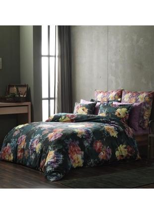 Постель цветы евро постельное белье tac сатин digital midnight bloom1